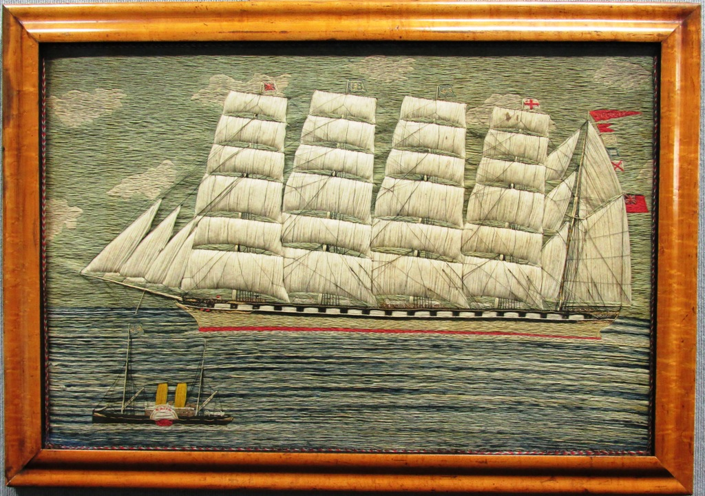 British woolwork - British Barque FREDRICK and Steam Pilot EDITH