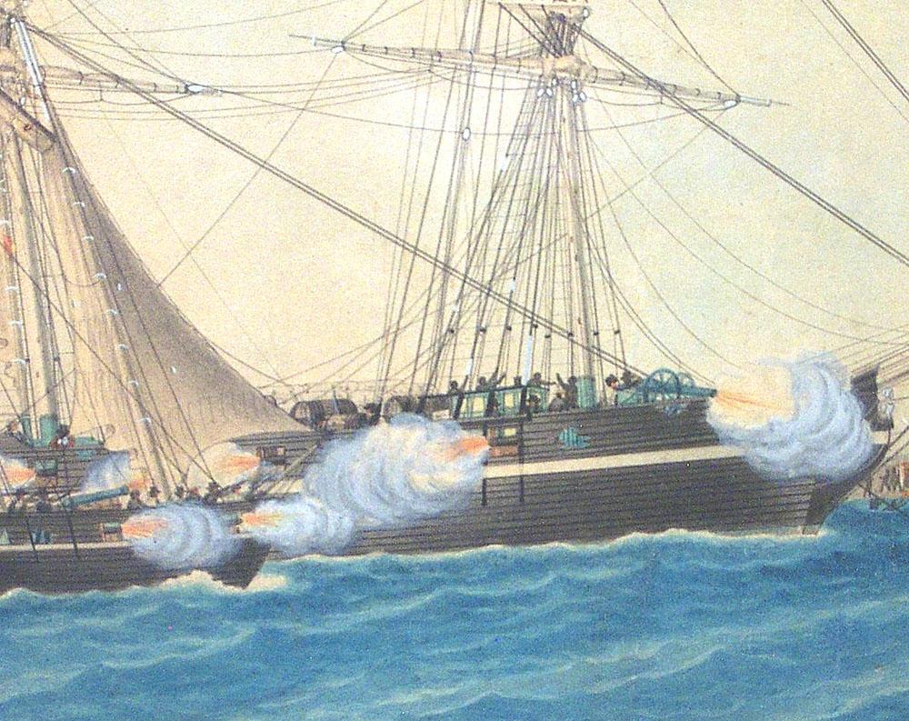 Brig Pandora Under Attack    Joseph Honor U00e9 Maxime