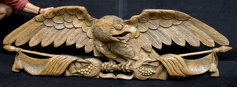 Th century carved wood eagle american bald by