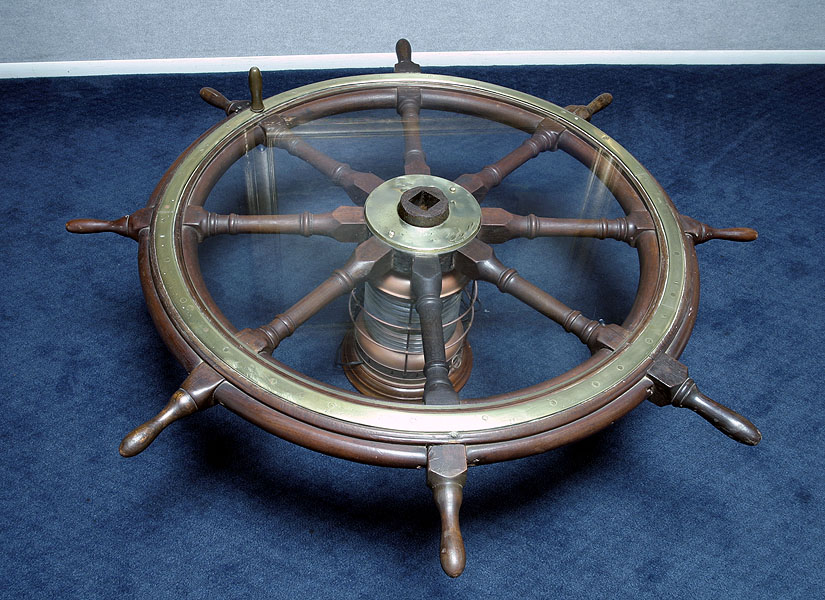 Antique Ships Wheel Coffee Table With American Brass Lamp Base Vallejo Demo
